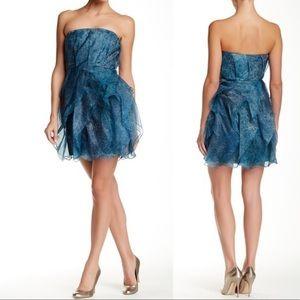 Halston Heritage Strapless Silk Cocktail Dress